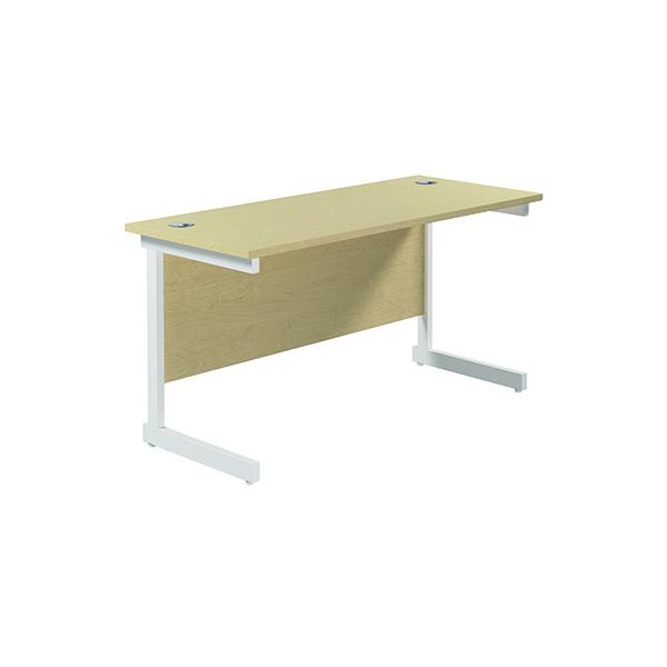 Jemini Single Rectangular Desk 1400x600mm Maple/White