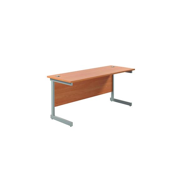 Jemini Single Rectangular Desk 1600x600mm Beech/Silver