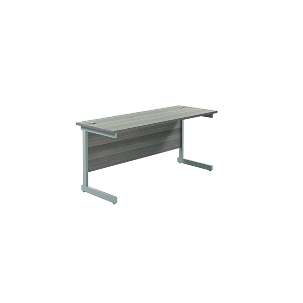 Jemini Single Rectangular Desk 1600x600mm Grey Oak/Silver