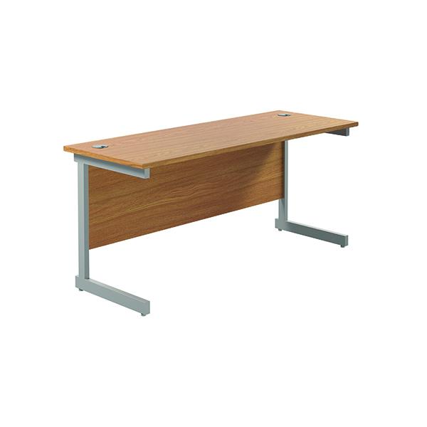 Jemini Single Rectangular Desk 1600x600mm Nova Oak/Silver