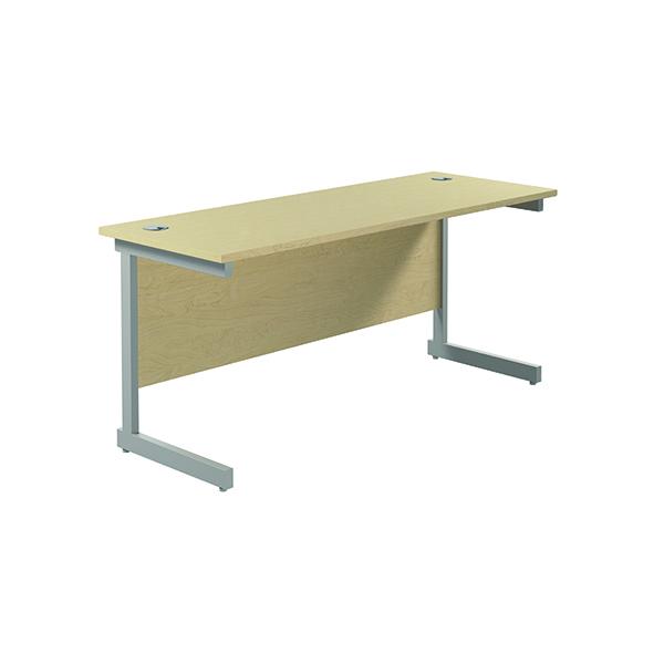 Jemini Single Rectangular Desk 1600x600mm Maple/Silver