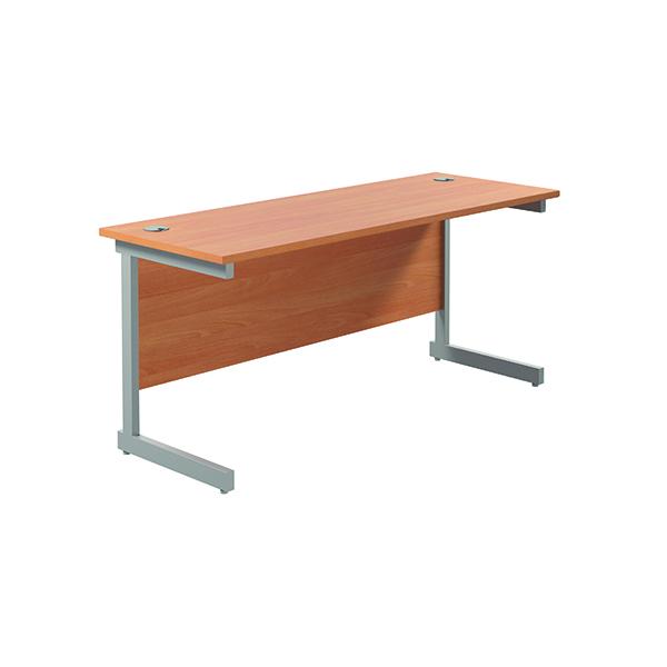 Jemini Single Rectangular Desk 1800x600mm Beech/Silver
