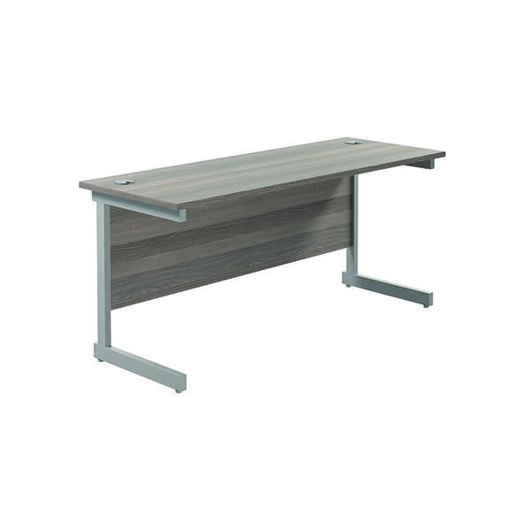 Jemini Single Rectangular Desk 1800x600mm Grey Oak/Silver