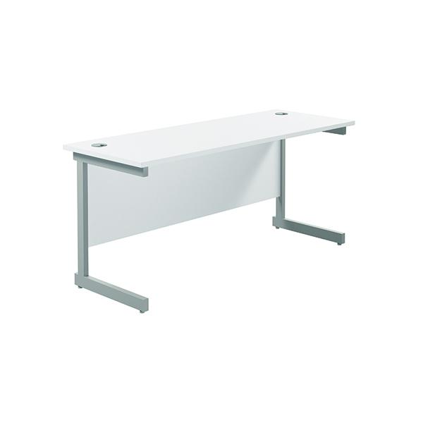 Jemini Single Rectangular Desk 1800x600mm White/Silver