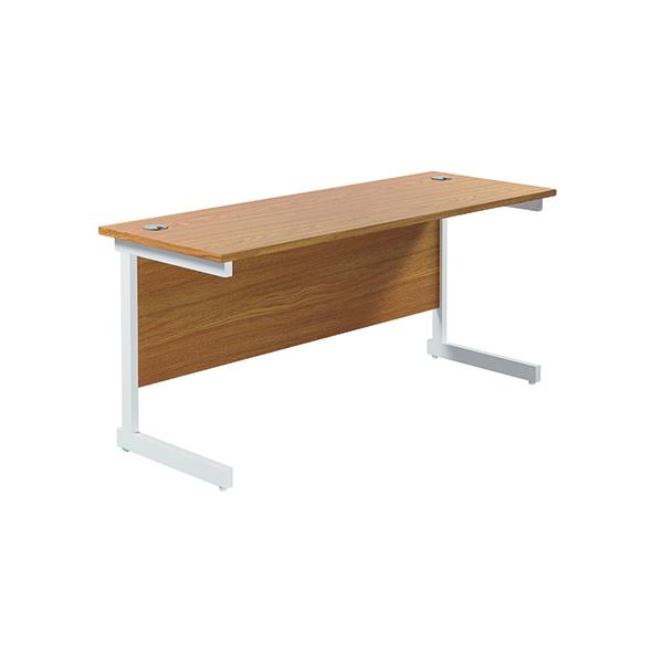 Jemini Single Rectangular Desk 1800x600mm Nova Oak/White