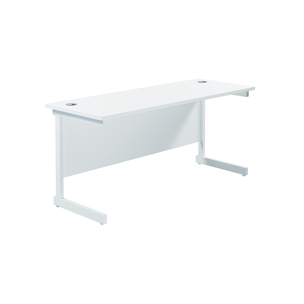 Jemini Single Rectangular Desk 1800x600mm White/White
