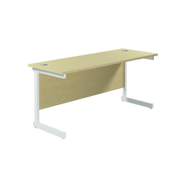 Jemini Single Rectangular Desk 1800x600mm Maple/White