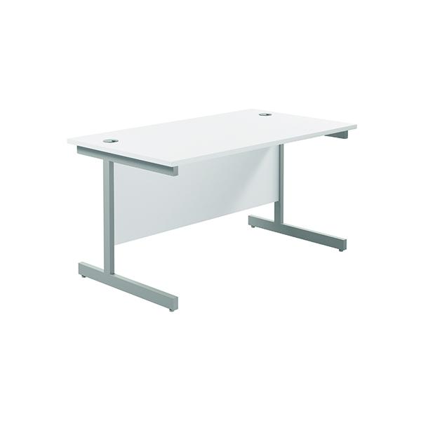 Jemini Single Rectangular Desk 1200x800mm White/Silver