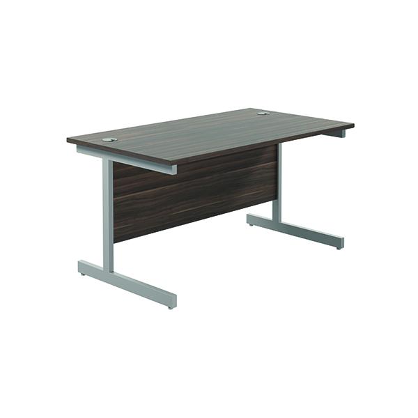 Jemini Single Rectangular Desk 1200x800mm Dark Walnut/Silver