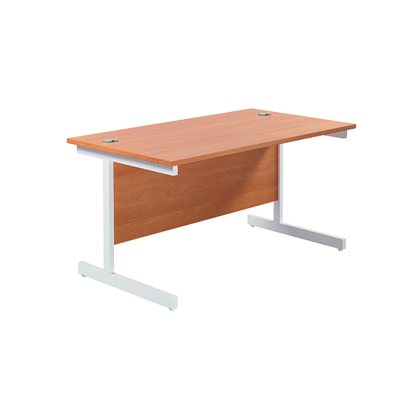 Jemini Single Rectangular Desk 1200x800mm Beech/White