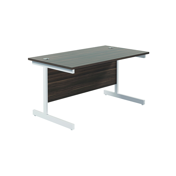 Jemini Single Rectangular Desk 1200x800mm Dark Walnut/White