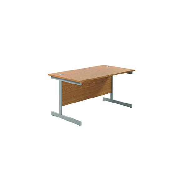 Jemini Single Rectangular Desk 1400x800mm Nova Oak/Silver