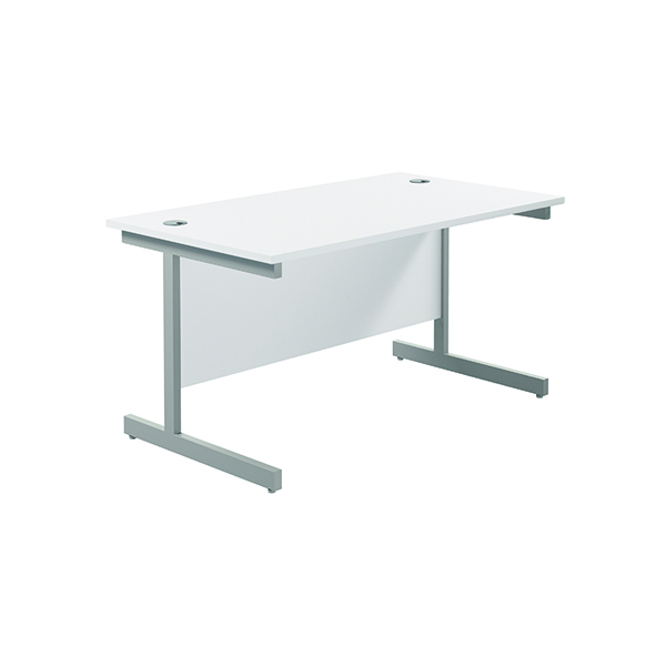 Jemini Single Rectangular Desk 1400x800mm White/Silver