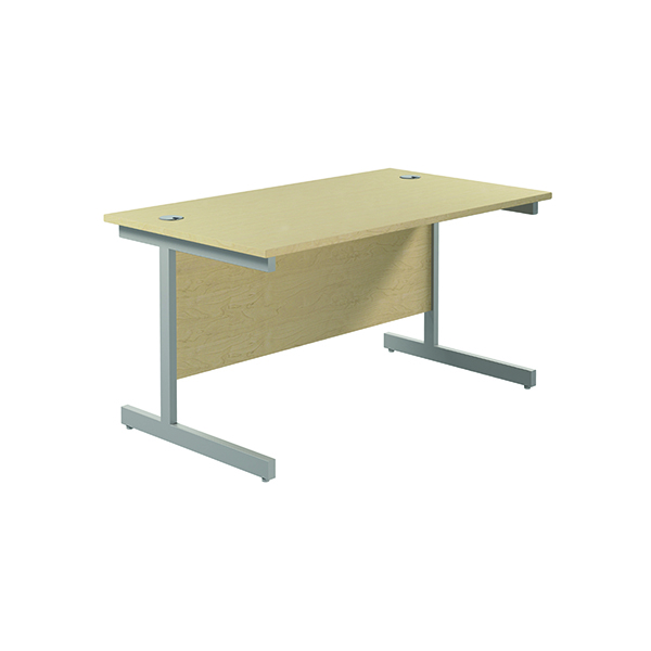 Jemini Single Rectangular Desk 1400x800mm Maple/Silver