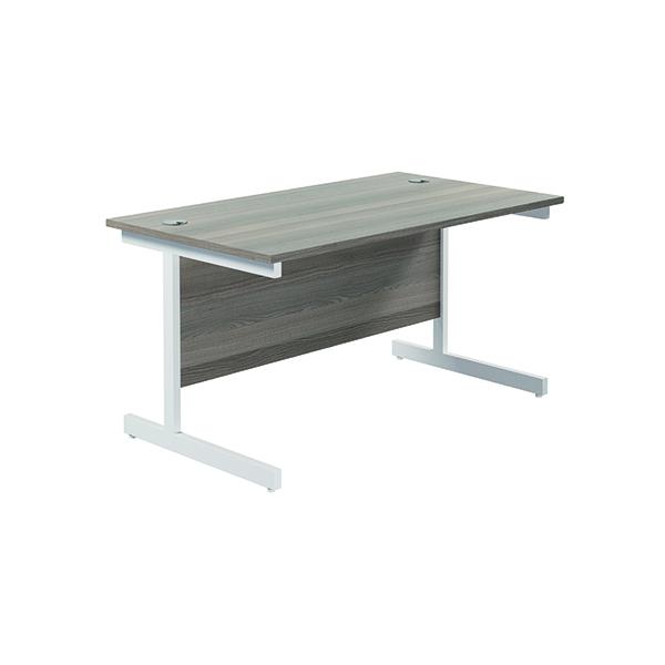 Jemini Single Rectangular Desk 1400x800mm Grey Oak/White
