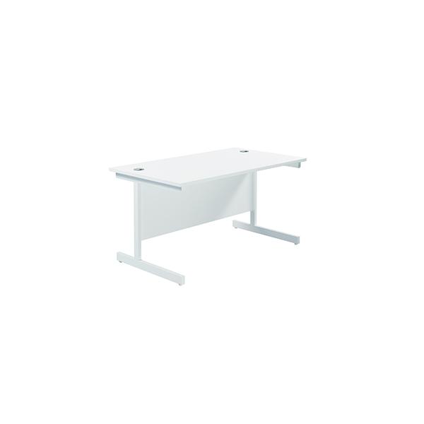Jemini Single Rectangular Desk 1400x800mm White/White