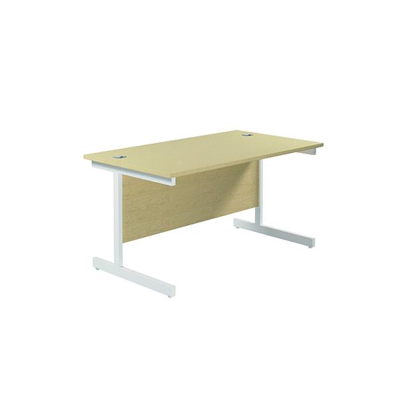Jemini Single Rectangular Desk 1400x800mm Maple/White