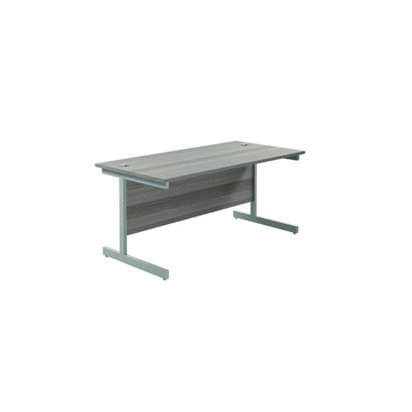 Jemini Single Rectangular Desk 1600x800mm Grey Oak/Silver