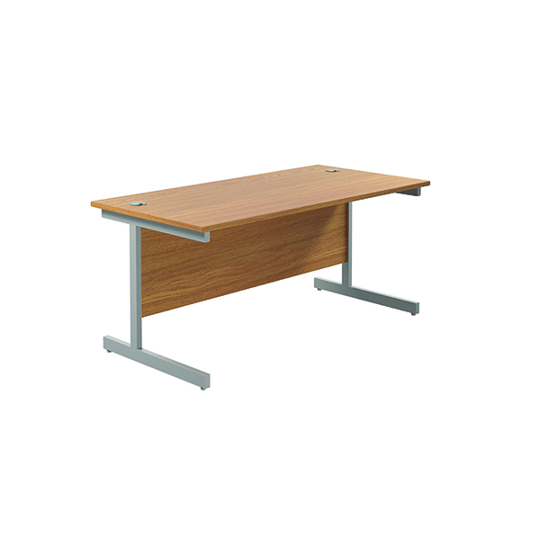 Jemini Single Rectangular Desk 1600x800mm Nova Oak/Silver