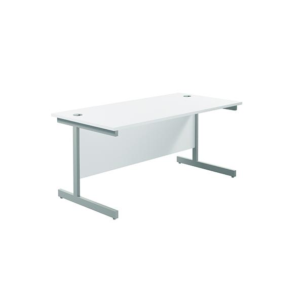 Jemini Single Rectangular Desk 1600x800mm White/Silver