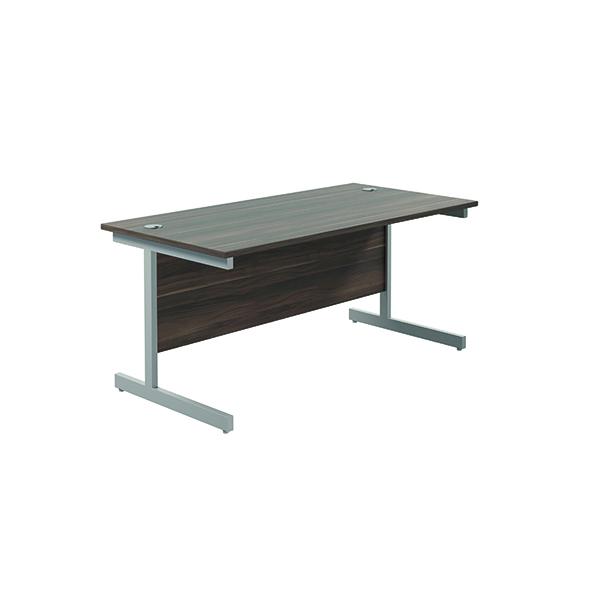 Jemini Single Rectangular Desk 1600x800mm Dark Walnut/Silver