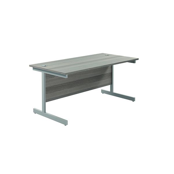 Jemini Single Rectangular Desk 1800x800mm Grey Oak/Silver