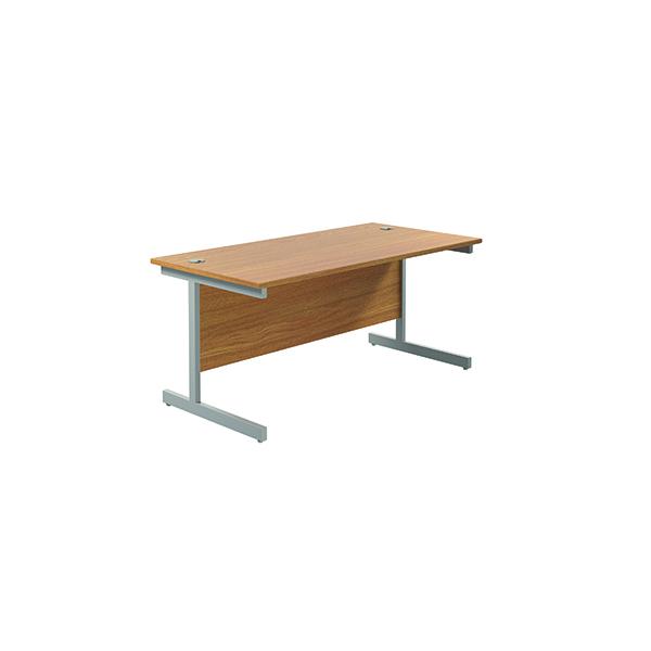 Jemini Single Rectangular Desk 1800x800mm Nova Oak/Silver