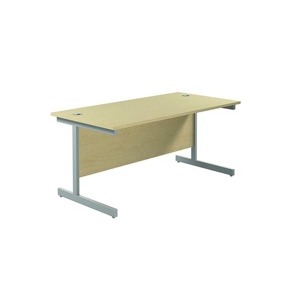 Jemini Single Rectangular Desk 1800x800mm Maple/Silver