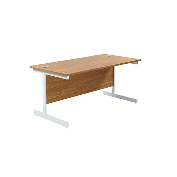 Jemini Single Rectangular Desk 1800x800mm Nova Oak/White