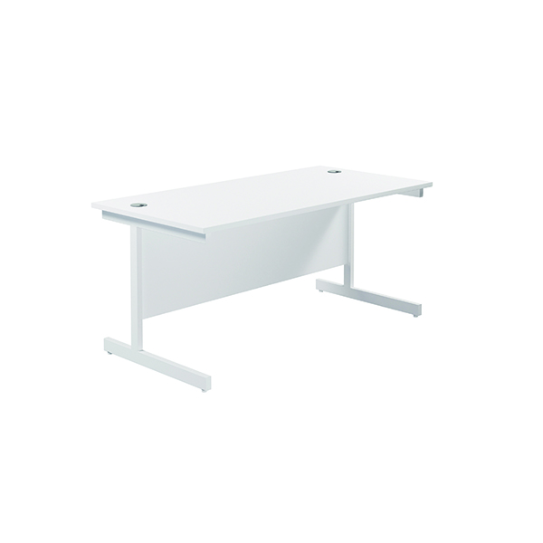 Jemini Single Rectangular Desk 1800x800mm White/White