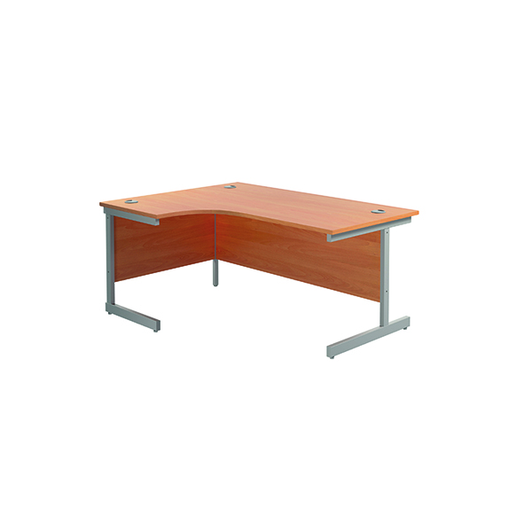 Jemini Left Hand Radial Desk 1600x1200mm Beech/Silver