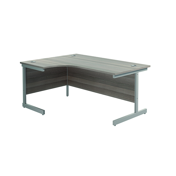 Jemini Left Hand Radial Desk 1600x1200mm Grey Oak/Silver
