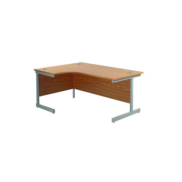 Jemini Left Hand Radial Desk 1600x1200mm Nova Oak/Silver