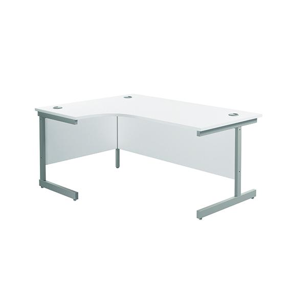 Jemini Left Hand Radial Desk 1600x1200mm White/Silver