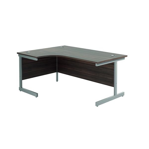 Jemini Left Hand Radial Desk 1600x1200mm Dark Walnut/Silver
