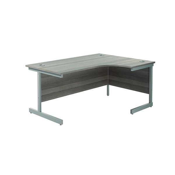 Jemini Right Hand Radial Desk 1600x1200mm Grey Oak/Silver