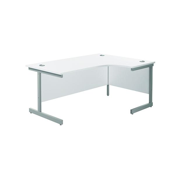 Jemini Right Hand Radial Desk 1600x1200mm White/Silver