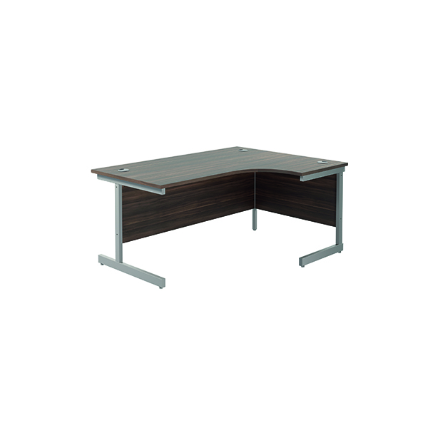 Jemini Right Hand Radial Desk 1600x1200mm Dark Walnut/Silver