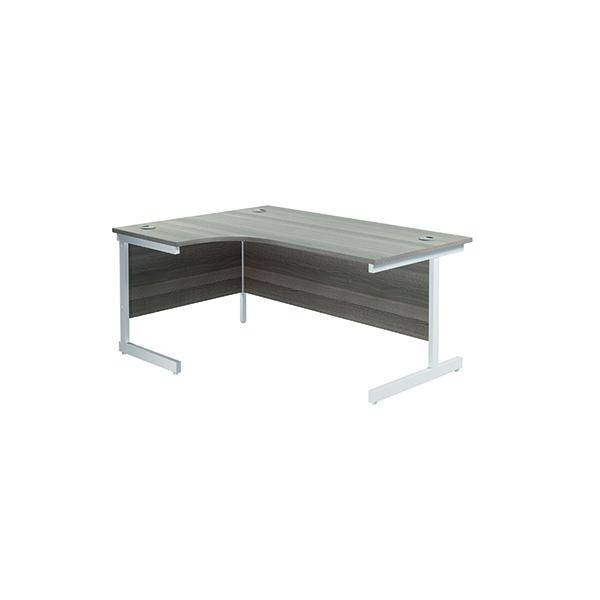 Jemini Left Hand Radial Desk 1600x1200mm Grey Oak/White