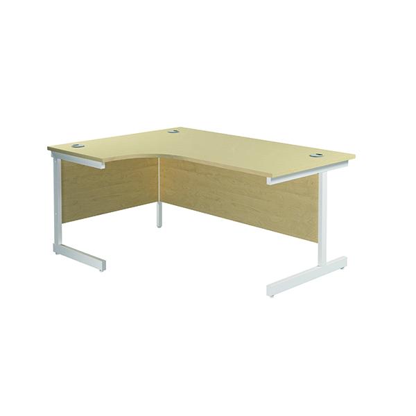 Jemini Left Hand Radial Desk 1600x1200mm Maple/White