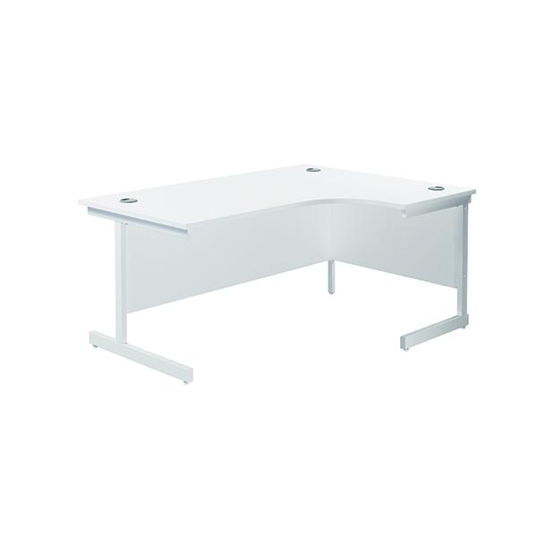 Jemini Right Hand Radial Desk 1600x1200mm White/White
