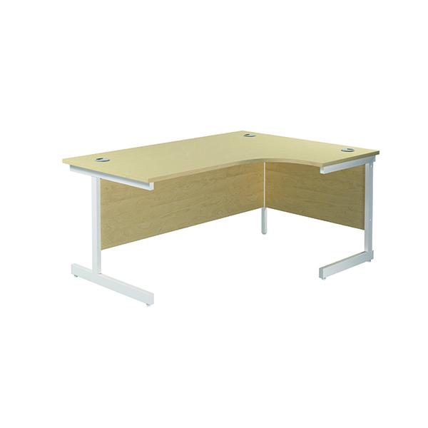 Jemini Right Hand Radial Desk 1600x1200mm Maple/White
