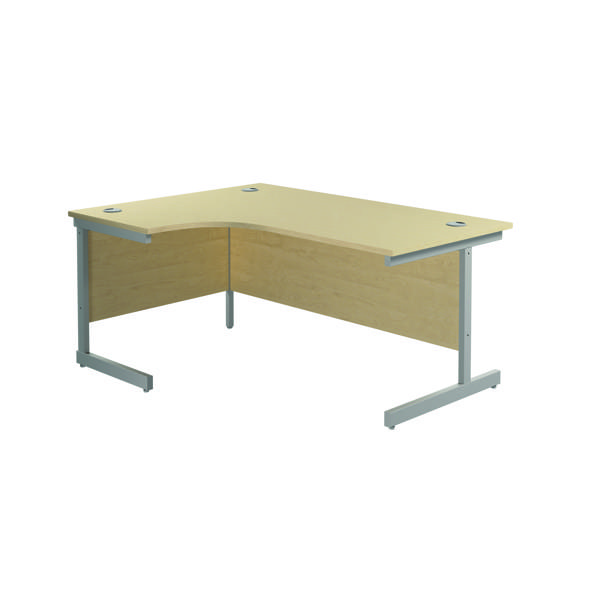 Jemini Left Hand Radial Desk 1800x1200mm Maple/Silver