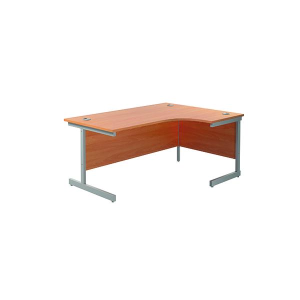 Jemini Right Hand Radial Desk 1800x1200mm Beech/Silver