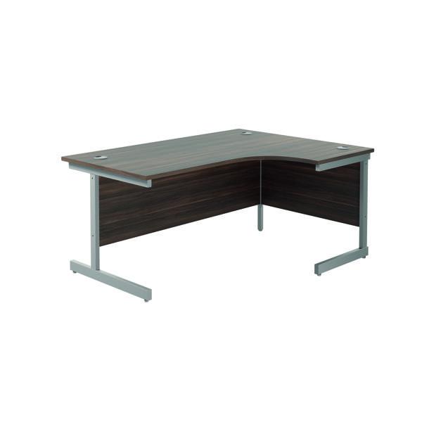 Jemini Right Hand Radial Desk 1800x1200mm Dark Walnut/Silver