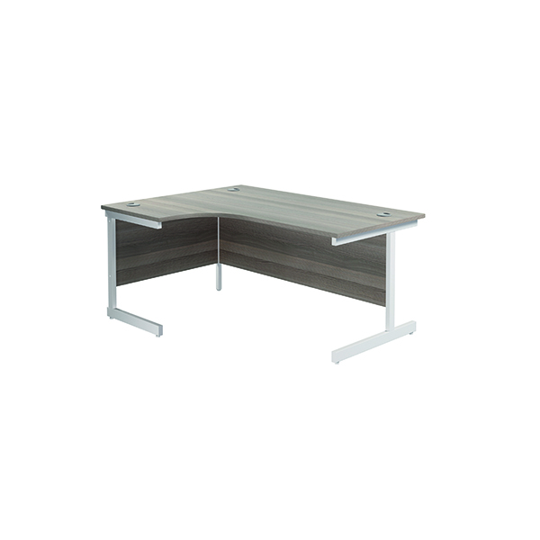 Jemini Left Hand Radial Desk 1800x1200mm Grey Oak/White