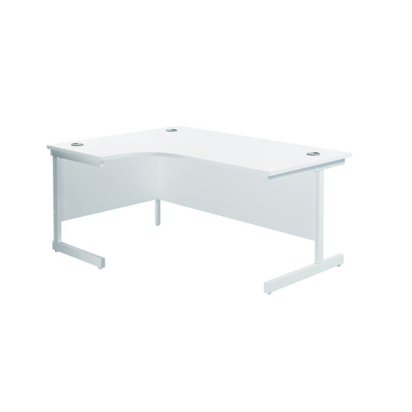 Jemini Left Hand Radial Desk 1800x1200mm White/White