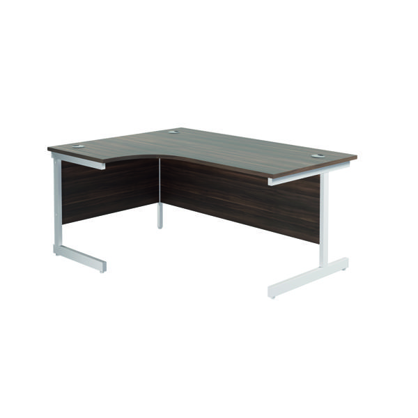 Jemini Left Hand Radial Desk 1800x1200mm Dark Walnut/White