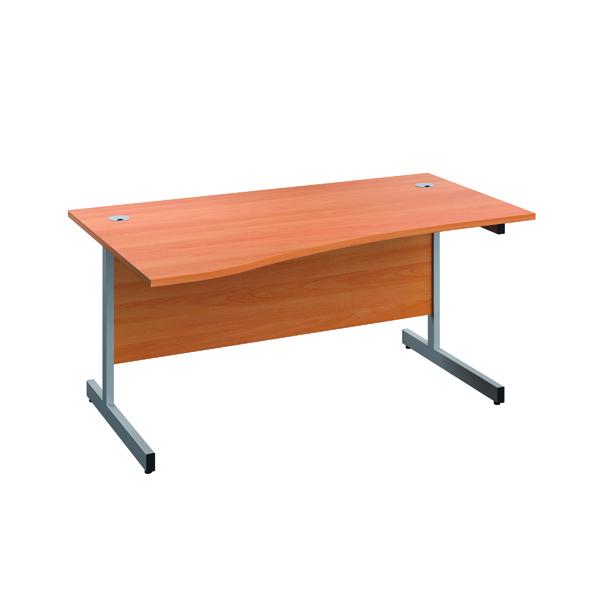 Jemini Left Hand Wave Desk 1600x1000mm Beech/Silver