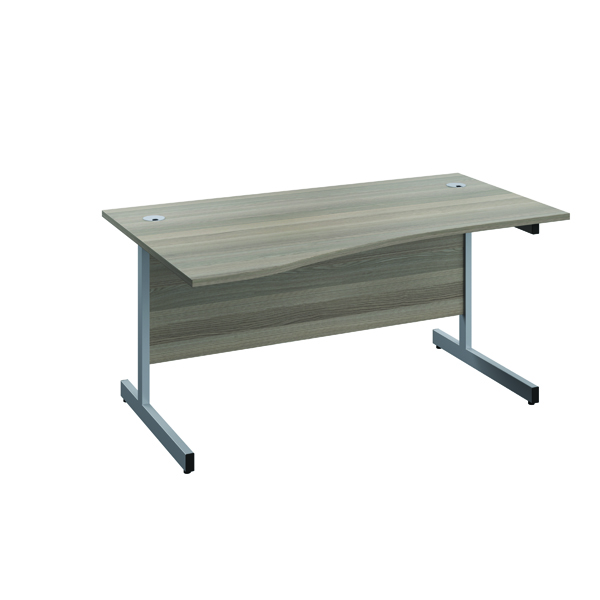 Jemini Left Hand Wave Desk 1600x1000mm Grey Oak/Silver